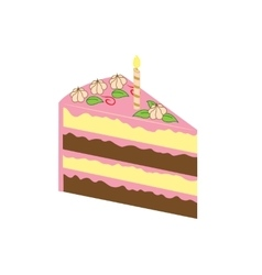 Piece of birthday cake vector