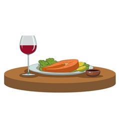 Salmon steak and a glass of wine vector