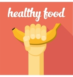 Healthy food  hand with banana vector