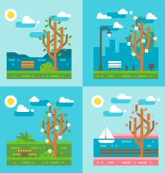 Flat design spring nature landscape vector