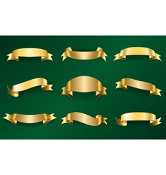 Gold ribbons set on green 1 vector
