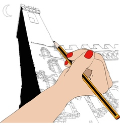 Woman draws the palazzo vecchio in florence vector