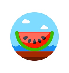 Watermelon slice icon summer vacation vector