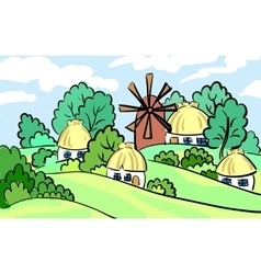 Summer landscape of the village on hill stands a vector
