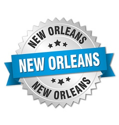 New orleans round silver badge with blue ribbon vector