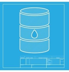 Oil barrel sign white section of icon on vector