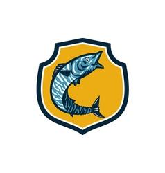Wahoo fish jumping shield retro vector
