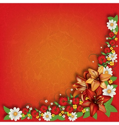 Abstract red grunge floral background with spring vector