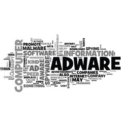 Adware and ad aware text word cloud concept vector