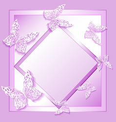background card with lacy butterflies in paper sty vector image vector image