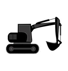 black backhoe loader icon vector image vector image