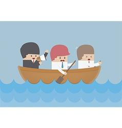 Businessman rowing team teamwork and leadership c vector