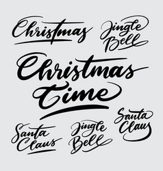 christmas time handwriting calligraphy vector image vector image