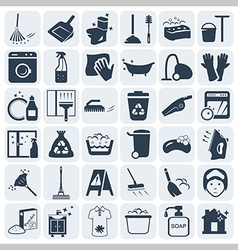 Cleaning and washing icon set vector