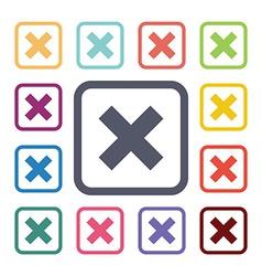 close flat icons set vector image