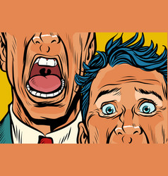 Close-up of eyes and mouth men cry panic face vector
