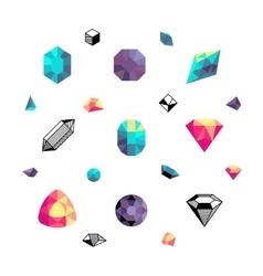 Color crystals diamond shapes polygon stones vector