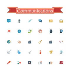 Communications Flat Icons vector image