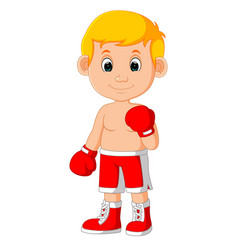 Cute boy boxing cartoon vector