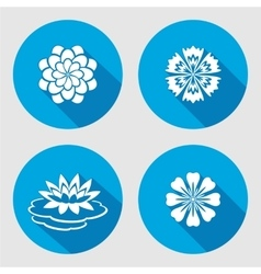 Flower icons set Lily waterlily chamomile blue vector image vector image