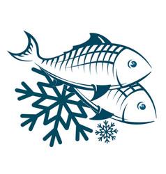 Frozen fish symbol vector