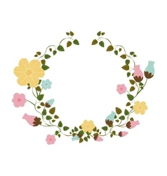 Half ornament creepers with flowers vector