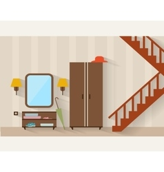 Hall with stairs and furniture vector