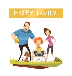 Happy family with disabled kid vector