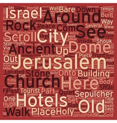 Jerusalem in just 3 days text background wordcloud vector