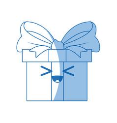 Kawaii gift box wrapped ribbon bow decoration vector