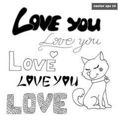 Love signs with dog vector