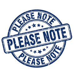please note blue grunge stamp vector image