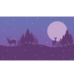 Reindeer on the hill scenery christmas vector