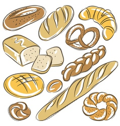 Set of different breads vector