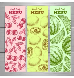 Set of vegetarian fresh fruit banners fruit sketch vector