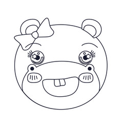 Sketch silhouette caricature face of female hippo vector