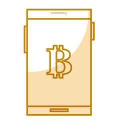 smartphone with bitcoin symbol vector image
