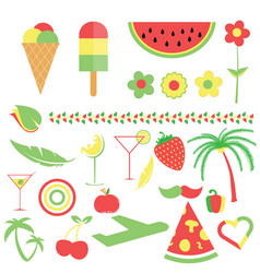 symbol and food in three color vector image vector image