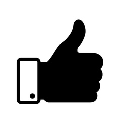 thumb up black icon vector image vector image