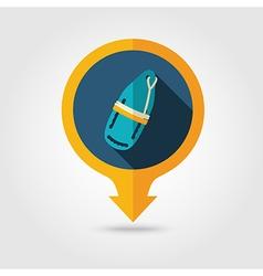 Torpedo lifeguard buoy pin map flat icon Summer vector image