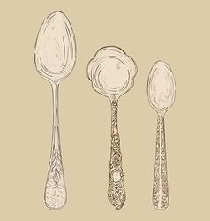 Vintage hand drawn spoon set vector
