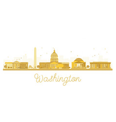 washington dc city skyline golden silhouette vector image