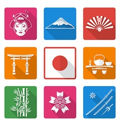 White solid flat style japan icons set vector