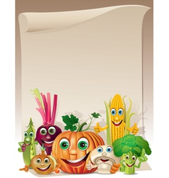 Funny vegetables cartoon company scroll vector