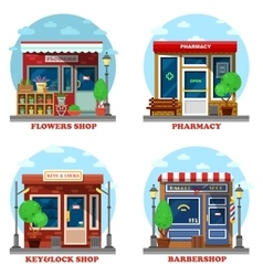 Facade of shop and stores outdoor exterior vector