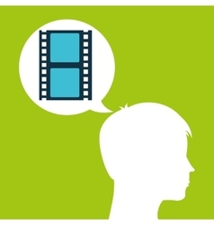 strip film silhouette head think movie vector image