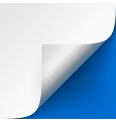 Curled corner of white paper on blue background vector