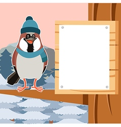 Happy sparrow with hat on the tree flat background vector
