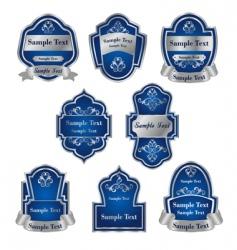 Set of vintage silver labels vector