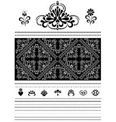 Calligraphic openwork border and ornaments for des vector